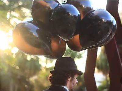 balões de latex preto com gas helio